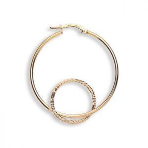 ER1330 9ct Gold Fancy Double Hoop Earrings