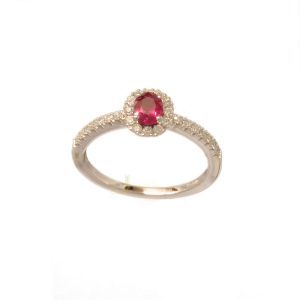 1086W18RD Oval Ruby Plus Diamond Cluster Ring