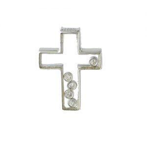 18ct White Gold Cross Plus Floating Diamond