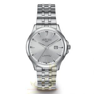 Roamer Windsor Gents Watch 705856410570 Roamer Windsor Range gents watch featuring steel case steel bracelet anti-reflective glass with date a silver dial.