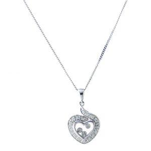 ABC20 18ct W G Floating diamonds Pendant Chain