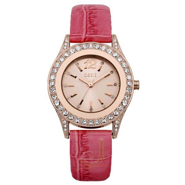 B1298 Oasis Ladies pink croc strap Watch