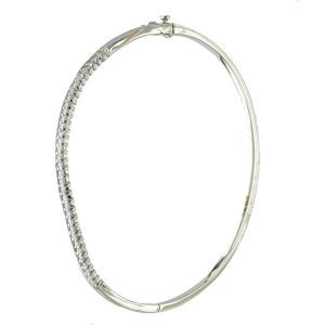 BNV001 White Gold 18ct S Shape Diamond Bangle