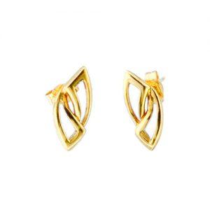 CHP034ER 18ct Gold Open Leaf Earrings
