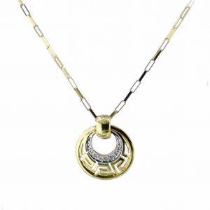 CHP070 Greek Design Diamond Pendant Plus Chain