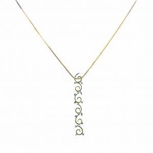 18ct Y-W gold Diamond Swirl Pendant plus Chain