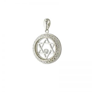 StarOf David Plus Floating Diamond Pendant