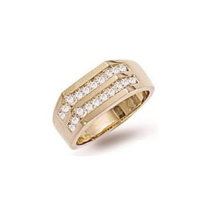 9ct Gold DR0105 1-00ct 2 Row Diamond Gents Ring