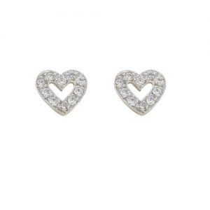 ER1165 9ct Yellow plus White Gold Heart Cz studs