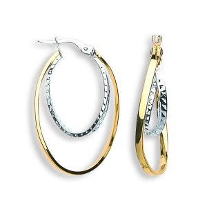 ER1354 9ct Gold Fancy Hoop Earrings
