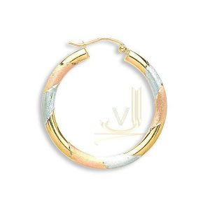 ER1362 9ct Multi-Color Gold Fancy Hoop Earrings