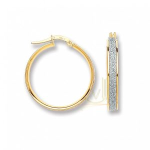 ER1414 9ct Gold Fancy Moon-dust Hoop Earrings