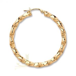 ER1455 9ct Gold Twisted Hoop Earrings
