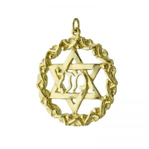 9ct Gold Large StarOf David Zion ina Circle Pendant