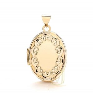 LK0144 9ct Gold Oval Locket Plus edge design