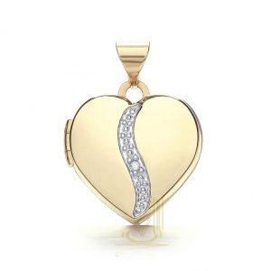 LK0161 9ct Gold Heart Locket Plus Diamond