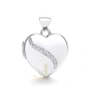 LK0162 9ct Gold Heart Locket Plus Diamond