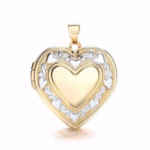 LK0171 9ct Gold Heart Locket Plus edge design
