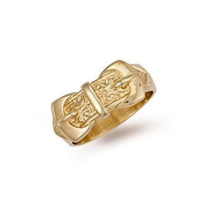 9ct Gold R00082 Gents Dubble Buckle Ring