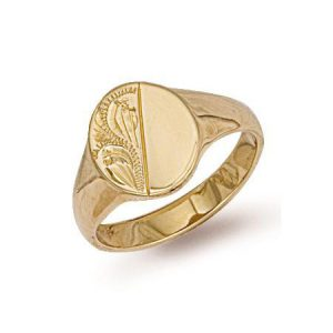 9ct Gold R0122 Gents Half Engraved Oval Signet Ring