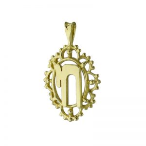 9ct Gold Jewish Chai Plus Filigree Surround Pendant