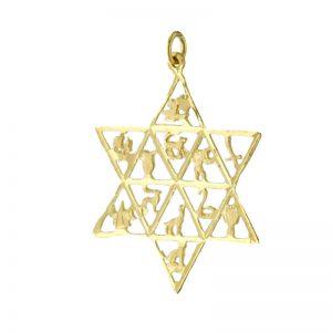 9ct Gold Twelve TribesOf Israel StarOf David