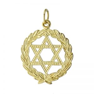 Gold StarOf David Plus foliage Pendant