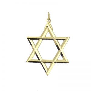 Large Gold Diamond cut Starof David Pendant