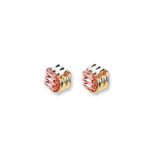 ST0238 9ct Tri Colour Gold Wool Knot studs