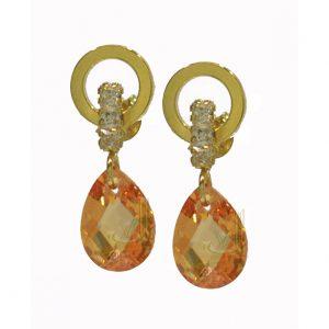 ST217 Cz plus Tear drop Golden Quartz gold Earrings