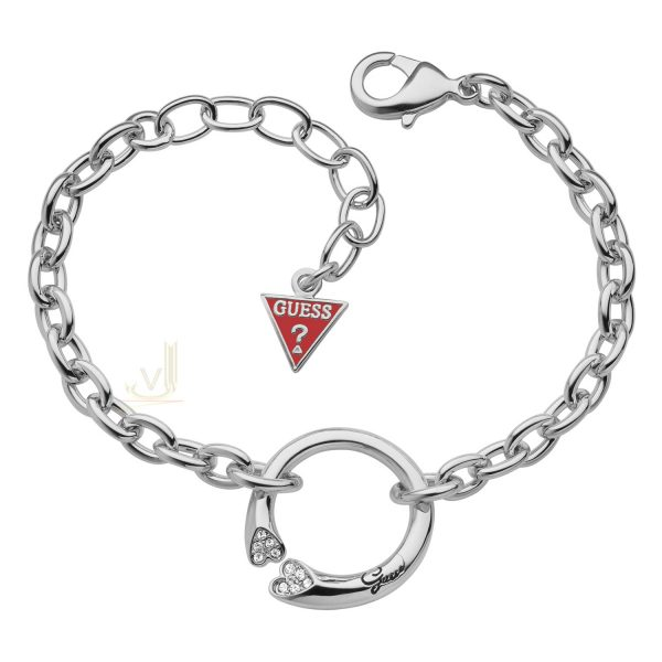 GUESS Rhodium plated Heart Shapes Love Bracelet