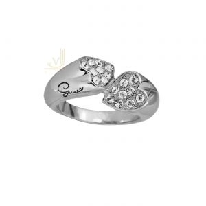 GUESS Crystal Studded Heart Shapes Love Ring