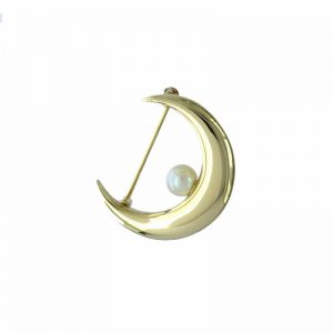 VJBRO-004 Gold Qutar Moon Plus Pearl Brooch Pin