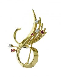Diamond Ruby Ribbon Brooch VJBRO-005
