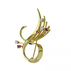 VJBRO-005 18ct Diamond Plus Ruby Ribon brooch Pin
