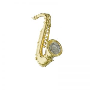 Musical Saxophone Plus Diamonds Brooch Pin