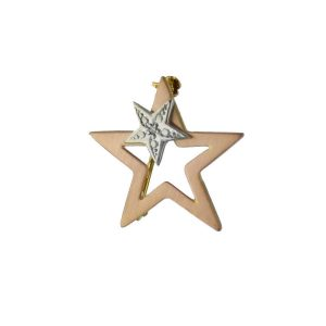 VJBRO-008 Rose Plus White Gold Star Brooch Pin Stylish 9ct Rose Plus White Gold Star Plus Diamond Brooch Pin makes a ideal gift for a special occasion