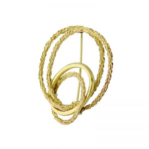 VJBRO-011 Gold Fancy Oval Circle Brooch Pin
