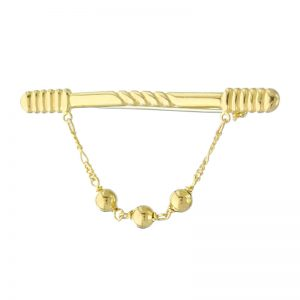 VJBRO-012 Gold Bar Brooch Pin Plus 3 Ball Chain