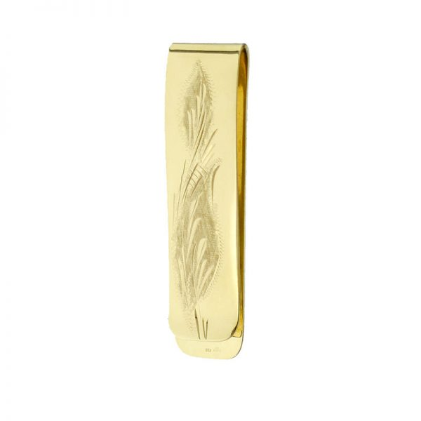 9ct Solid Gold Hand Engraved Money Clip YGHEEG