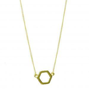 GCC518 Hexagonal 9ct Gold Pendant plus Chain