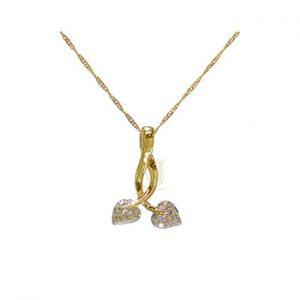CHP037 9ct Crossover Hearts Diamonds Pendant chain