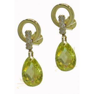 ST216 9ct Gold Plus Cz plus Tear drop Peridot Earrings