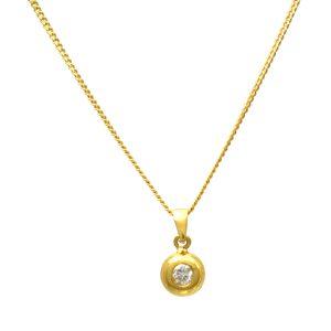 Button style Diamond Pendant plus 18ct Chain VJ2297n VJ2297