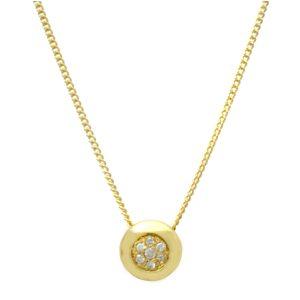 Button style Diamond Cluster Pendant plus 18ct Chain VJ2302