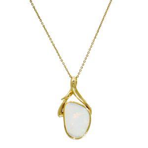 PMS147Y 14ct gold Opal Pendant plus 9ct Chain