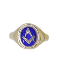 Oval Swivel Masonic Ring with Blue Enamel