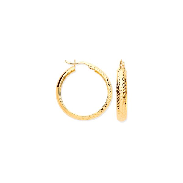 Half DC Half Plain Hoop Earrings ER1588
