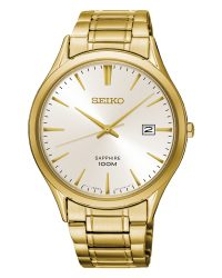Seiko Mens Watch with Gold Plated Strap SGEH72P1