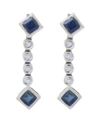 18ct Diamond Sapphire Drop Earrings ABC-8-18